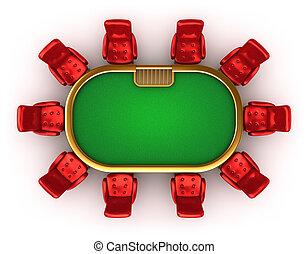 chaises, table, poker, vue dessus