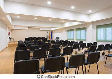 chaises, table, salle réunion