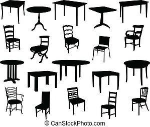 chaises, tables