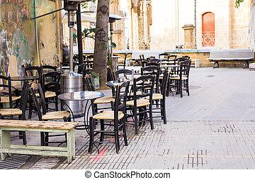 chaises, tables, démodé, café, terrasse