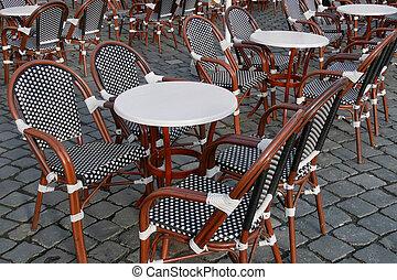 chaises, tables, rue, café