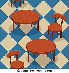 chaises, tables, seamless