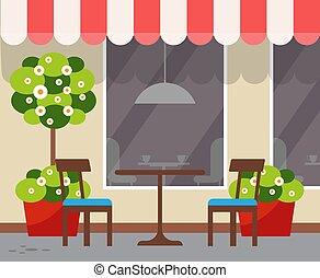 chaises, terrasse, siège, table, restaurant
