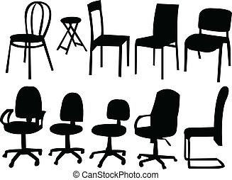 chaises, vecteur, -, collection