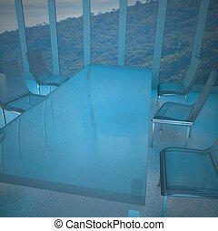 chaises, verre, salle réunion