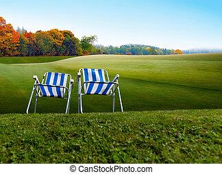 chaises, vieux, deux, façonné, camping