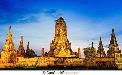 chaiwatthanaram, 寺院, ayutthaya, タイ