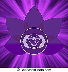 chakra, 8, ajna, symbool., eps