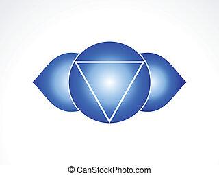chakra, abstrakcyjny, wektor, oko, trzeci