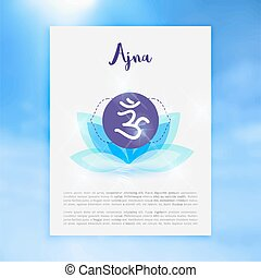 Chakra Ajna icon, ayurvedic symbol, concept of Hinduism,...