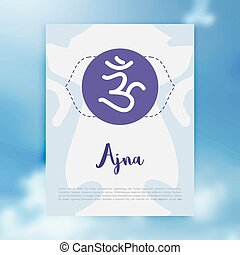 Chakra Ajna icon, ayurvedic symbol, concept of Hinduism, Buddhism