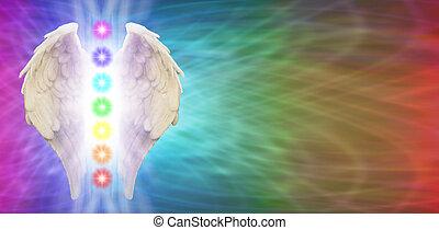 chakra, bannière, ailes, ange