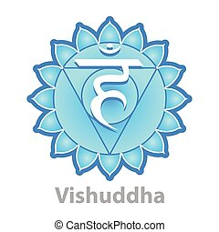 chakra, blanco, vector, aislado, vishuddha