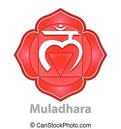 chakra, branca, vetorial, isolado, muladhara