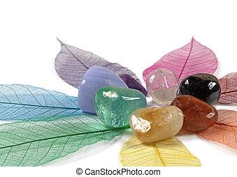 Chakra Crystals on skeleton leaves - Seven Chakra Crystals...