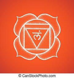 chakra, desenhado, muladhara, ilustração, mão