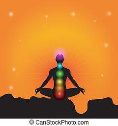 chakra, e, meditação