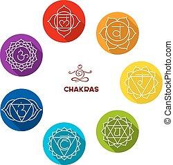 chakra, farve, sæt, lejlighed