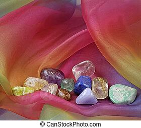 Chakra gemstones on Rainbow Chiffon