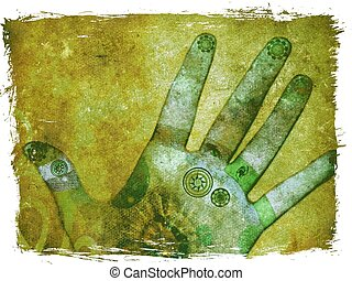 Chakra hands - Mixed media illustration of hands with...