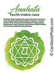 chakra, hart, vector, illustratie