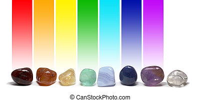Chakra Healing Crystals Color Chart - Row of chakra colored...