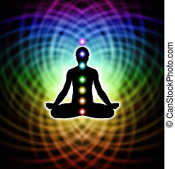 Silhouette of a man in lotus meditation position with Seven Chakras on rainbow matrix energy background