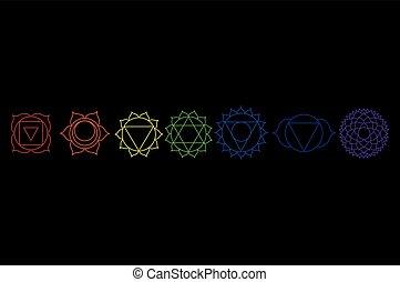 Chakra icon set, collection. Yoga, Buddhism symbol