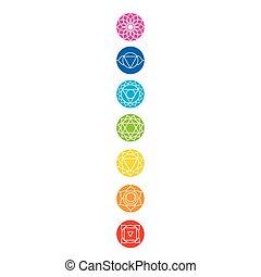 chakra, icone, con, rispettivo, colori