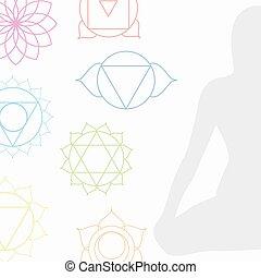 chakra, icone, in, rispettivo, colori, con, meditare, persona