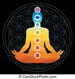 Chakra icons on colorful body silhouette - Body silhouette...