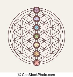 Chakra icons on sacred geometry design - Zen concept...