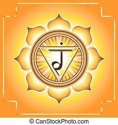 Chakra Manipura. Decorative design element esoteric Buddhistic symbol of the chakras