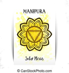 Chakra Manipura. For greeting cards, packaging or poster ...