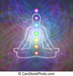 Lotus position meditation in energy matrix and seven chakras diagram