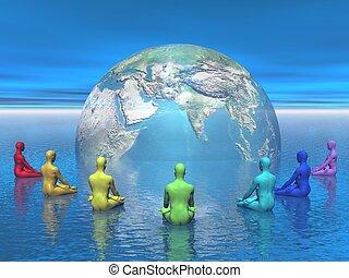 chakra, meditación, para, tierra, -, 3d, render
