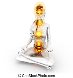 Chakra Meditation - A woman performing a full chakra ...