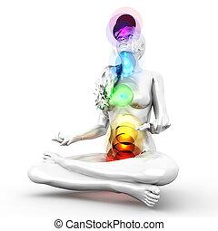 Chakra Meditation - A woman performing a full chakra...