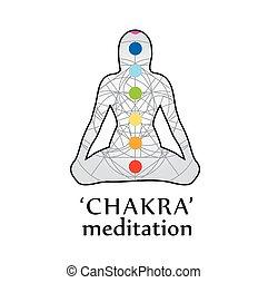 chakra, meditazione, con, rispettivo, colori