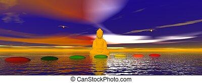 chakra, pasos, buddha