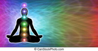 chakra, regenbogen, meditation, banner