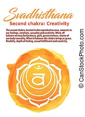 chakra, sacral, vector, ilustración