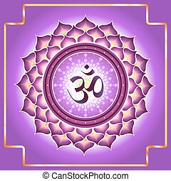 Chakra Sahasrara. Decorative design element esoteric Buddhistic symbol of the chakras