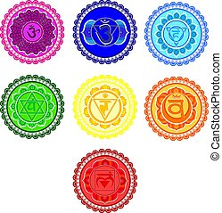 chakra, simboli, set.