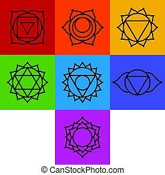 chakra, simboli, sette, set