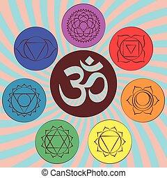 chakra, simbolo om, pictograms
