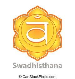 Chakra swadhisthana isolated on white vector illustration