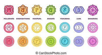 chakra, symboles, ensemble