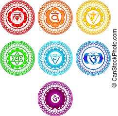 chakra, symboles, set.