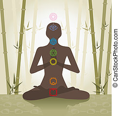 chakra system - Illustration depicting the silhouette of a...